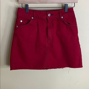 Topshop red jean mini skirt